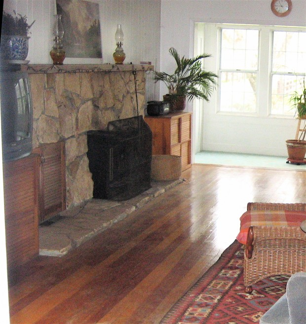 winery farm house living room fireplace before