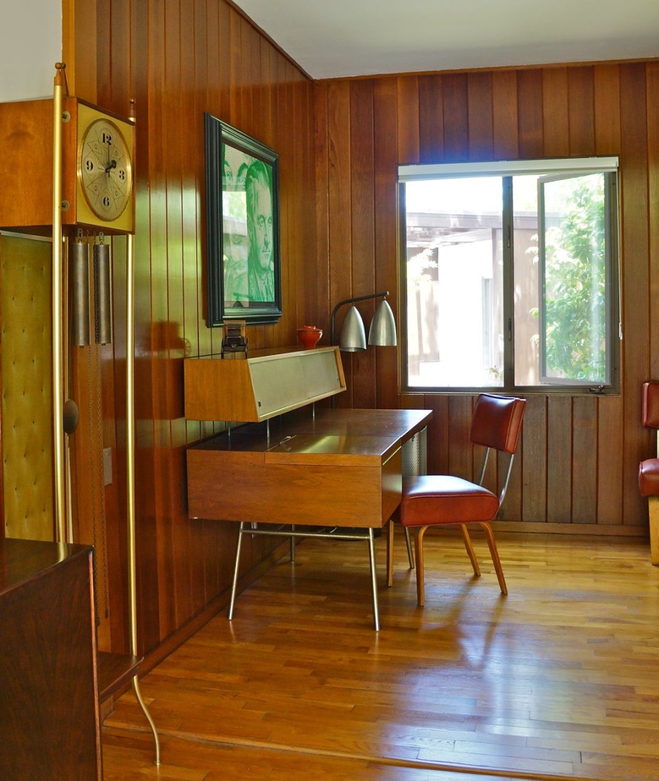 Outfitted vintage, home office was once a 1950s bar..